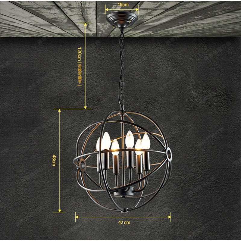 LukLoy винтажный подвесной светильник, кухонная лампа подвесная в ретро стиле, Планетарная Сфера, чердак, железные подвесные лампы, приспособление для гостиной, Подвесная лампа