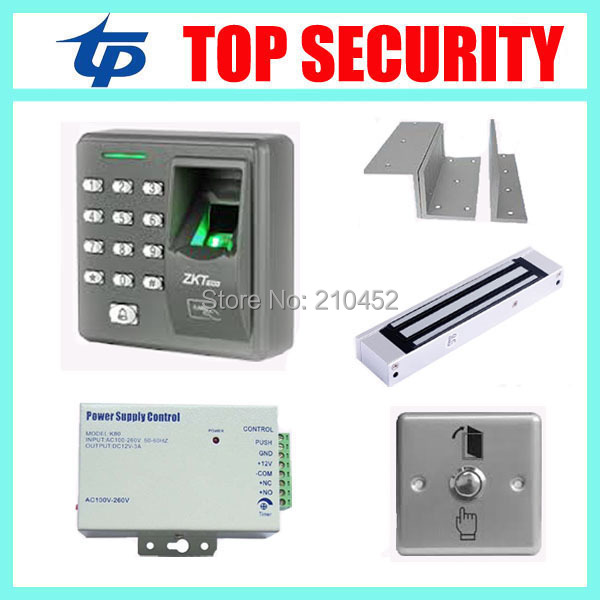 Hot sale standalone fingerprint access control system access controller X6 +power supply+magnetic lock+metal exit button+bracket biometric face and fingerprint access controller tcp ip zk multibio700 facial time attendance and door security control system