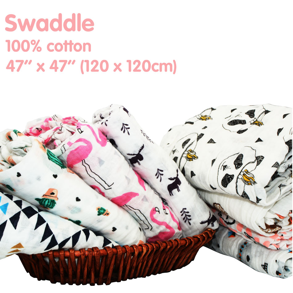Miababy Cotton Muslin Baby Swaddle Be Used As Nursing Cover, Burp Cloth, Play Mat Or Even To Shade A Stroller