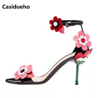 Casidueho Flowers Women Sandals Summer High Heels Wedding Shoes Woman Mixed Color Leather Peep Toe Pumps Sexy Strap Slippers New