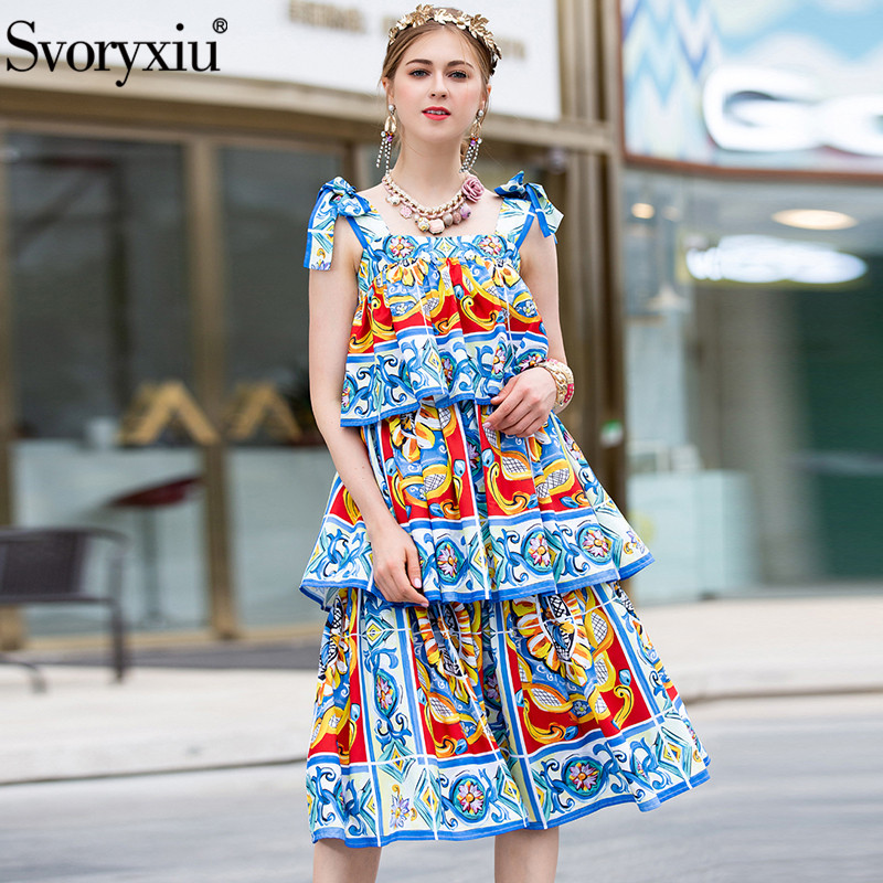 Svoryxiu Runway Summer Tiered Ruffles Cake Dress Women s Elegant Painted Pottery Print Vacation Party Bow