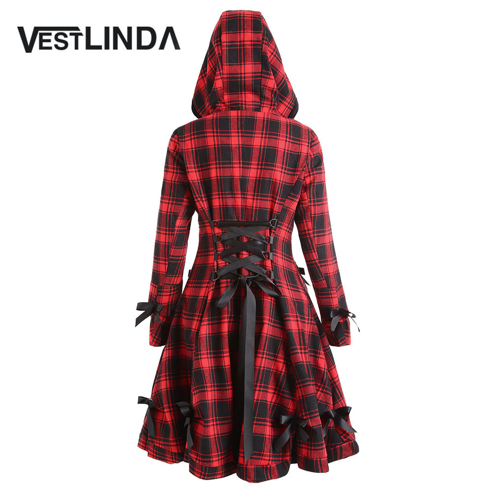 VESTLINDA Gothic Style Plaid Coat Women Hooded Button Up Skirted Coats Trench Bowknot Lace-Up Long Pockets Womens Outerwear gothic lace up tiered women s long dress