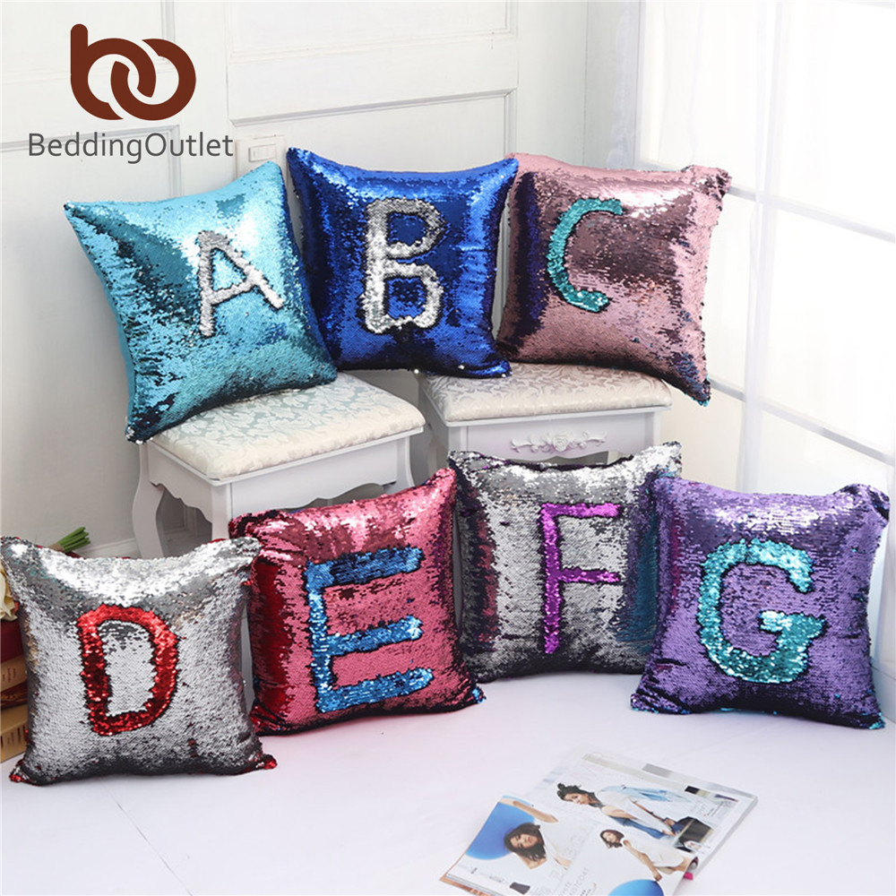 online get cheap embroidered pillow covers aliexpresscom  - beddingoutlet mermaid sequin cushion cover colorful cool magical sequinpillowcase two side throw pillow case funda