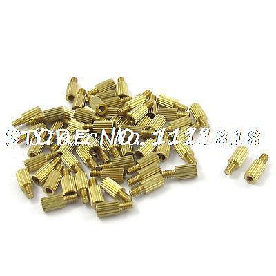 50 Pcs Gold Tone Male Female PCB Pillars Standoff Spacers M2x5mmx8mm
