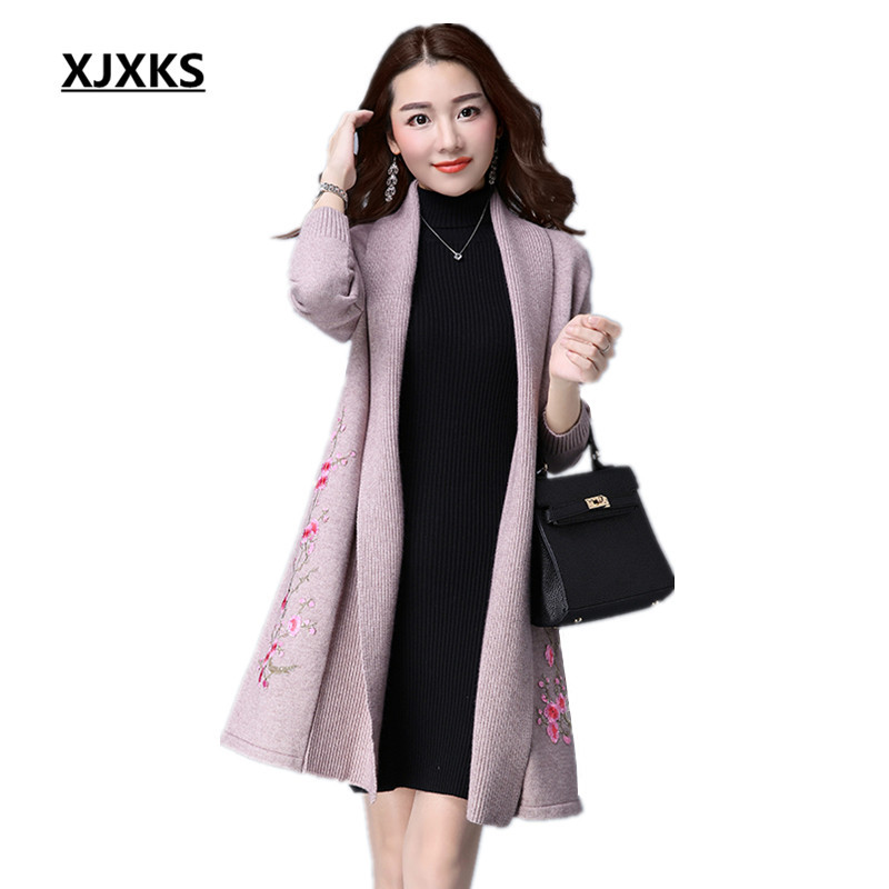 XJXKS 2019 autumn and winter long section plus size appliques long sleeved women cashmere knit cardigan