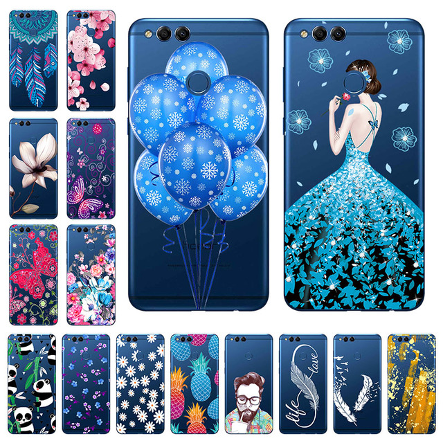 "Soft TPU Honor 7X Case Cover Transparent Painted 5.93"" Huawei Honor 7X Case Silicone Phone Back Protective Shell Mate SE Bumper"