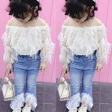 Toddler Kid Baby Girl Summer Lace T Shirt Tops Destroyed Jeans Pants Outfits Set цена