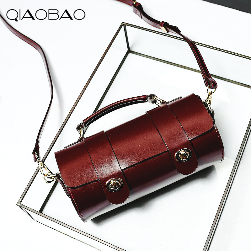 9abd6b3f0601 QIAOBAO 2018 Pillow Bag Genuine Leather Messenger Bag Famous Brand Handbags  Women Shoulder Bag Envelope Women Crossbody Bag-in Shoulder Bags from  Luggage ...