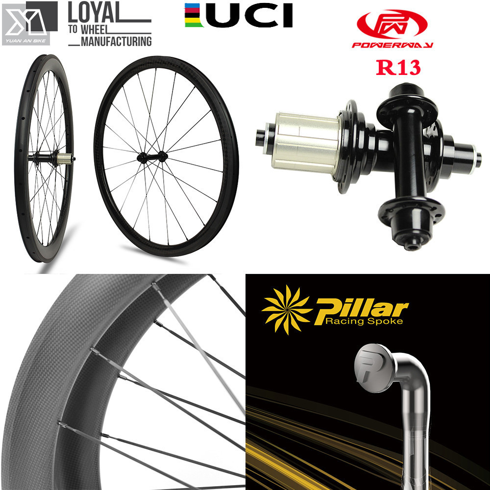 700c Carbon Road Bike Wheel 30mm 38mm 47mm 50mm 60mm 88mm Tubeless Clincher Tubular Wheelset with Taiwan Powerway R13 J bend Hub700c Carbon Road Bike Wheel 30mm 38mm 47mm 50mm 60mm 88mm Tubeless Clincher Tubular Wheelset with Taiwan Powerway R13 J bend Hub
