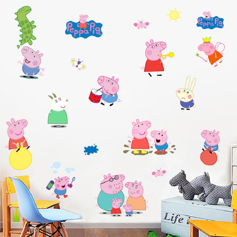 цена на Peppa Pig Free Shipping 3D DIY Photo PVC Wall Decals/Adhesive Family Walll Stickers Mural Art Home Decor