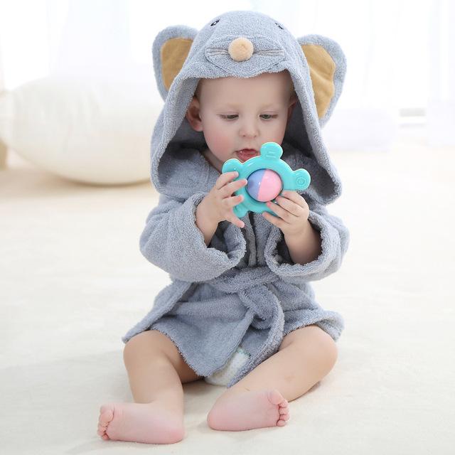 Ropa para niños niños niñas Batas nueva invierno primavera otoño bebé de la historieta albornoz Ropa de Dormir y Robe invierno oso conejo Rosa