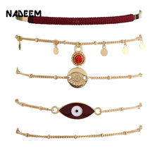 NADEEM New Fashion Gold Color 5Pcs/Set Bracelet Set Jewelry for Women Boho Style Link Chain Eye Charming Bracelet Accessories