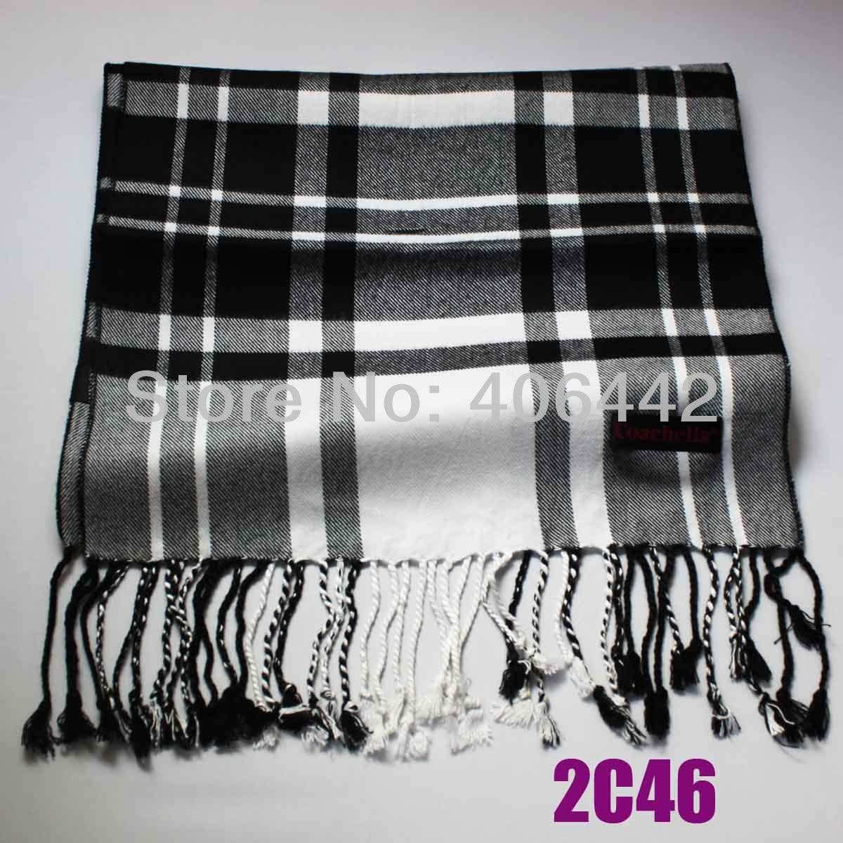 coachella gris con blanco negro plaid grids bufanda larga con flecos de viscosa suave bufanda de invierno de los hombresde las