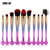 10Pcs Shell Shape Colorful Makeup Brushes Rainbow Sliver Rosegold Brush Amazing Hair Professional Make Up Brush