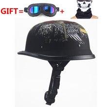 Novo estilo wwii alemão motocicleta, meio capacete chopper piloto de motocicleta aberto face