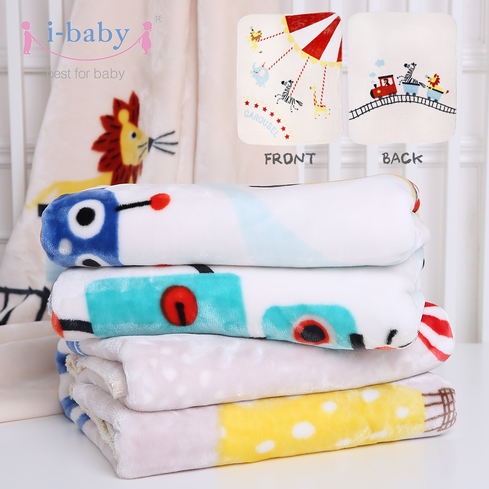 i-baby Baby Blanket Happy Circus Baby Bedding Double sides Printed Raschel Newborn Swaddling arnigu leaves printed winter bedding throw or quilt double face raschel blankets big size thick blanket warm bed sheet 200x230cm