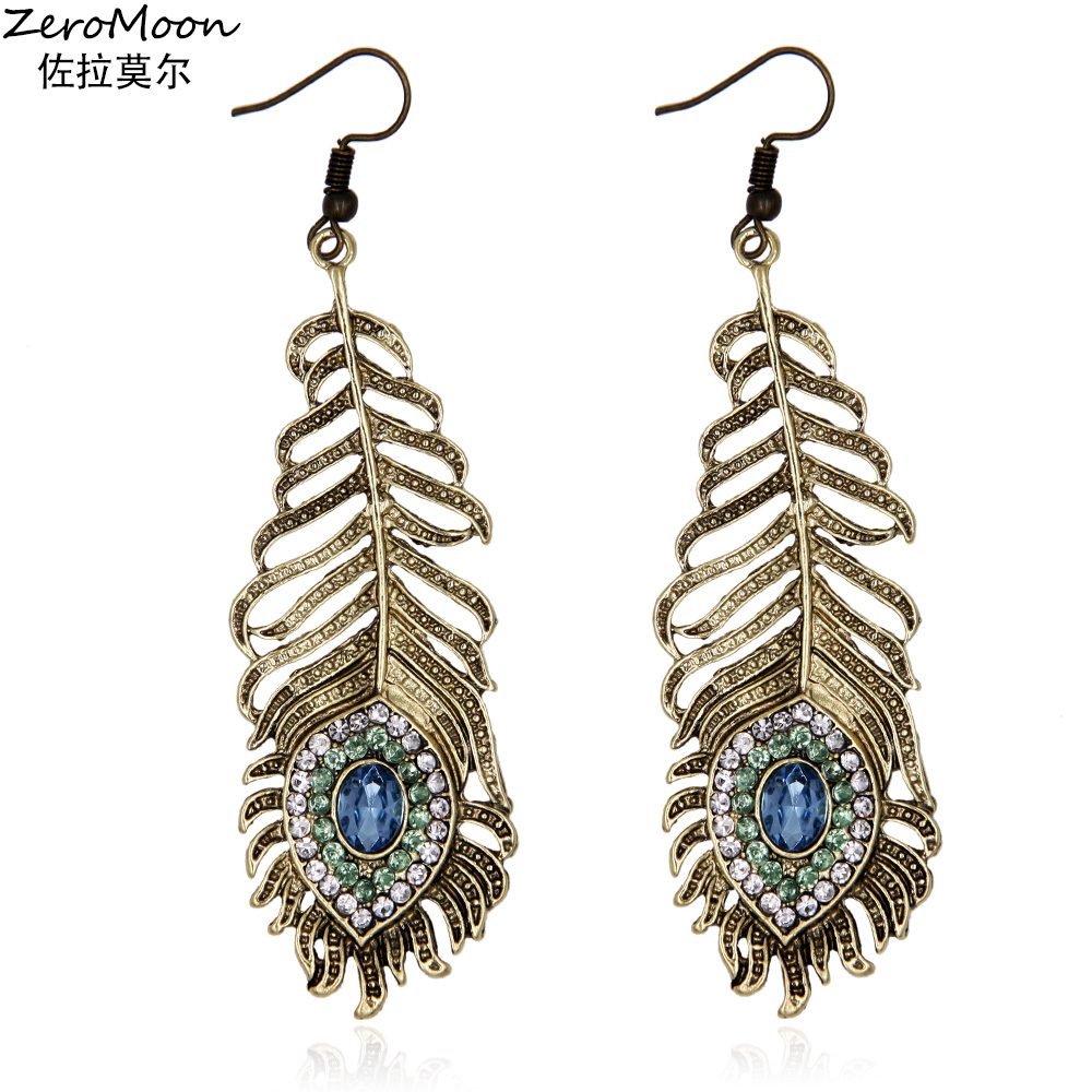 Crystal Rhinestone Metal Feather Dangle Earrings Women Fashion Eardrop Accessory  Vintage Jewelry zeromoon a850bca6ca52