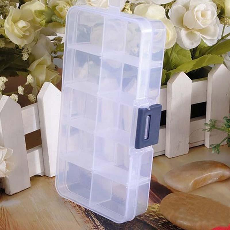 10 Grids Plastic Box Adjustable Jewelry Box Beads Pills Nail Art Storage Box Organizer for the office housekeeping organization