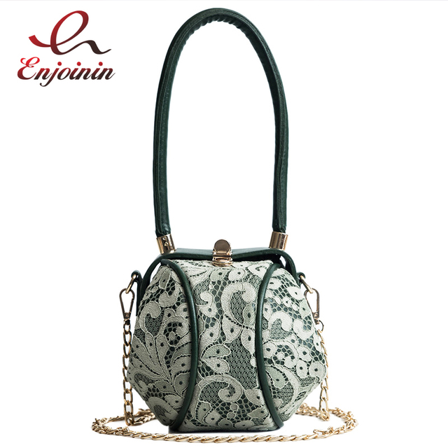 Vintage Lace Round Design Stylish Pu Leather Women S Casual Pouch Totes Shoulder Bags Handbags Party