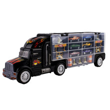 18Pcs / set Közlekedés Car Carrier Truck Toy for Boys (beleértve az Alloy Metal 6PcsCars + 1Pcs Truck + 11db Roadblocks) Gyerekeknek Gyermekeknek