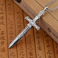 Handmade Retro 925 Sterling Silver Heavenly Sword Pendant Rock Antique Crafts Personality Cross Pendant Mens Accessories 2016