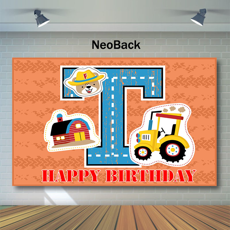 Neoback Excavator Construction Backdrop Happy 1st Birthday Photo Background Under Boy Photography