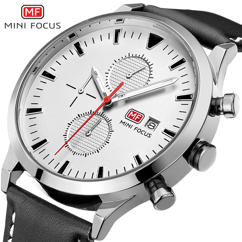 MINIFOCUS Sport Mens Watches Top Brand Luxury Leather Waterproof Chronograph Military Quartz Wrist Watch Men Clock Montre Homme megir sport mens watches top brand luxury male leather waterproof chronograph quartz military wrist watch men clock saat 2017