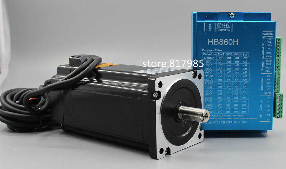 все цены на Hot! servo motor 86HB250-118B+HB860H Closed-loop step motor 8.5N.m Nema 86 Hybird closed loop 2-phase stepper motor driver