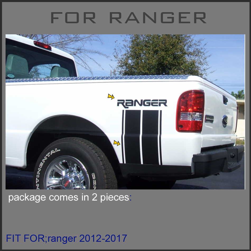 free shipping 2PC including right and left for Ford Ranger 2012 2013 2014 2015 2016 2017 Vertical Bed Stripe Kit window deflector for ford ranger injection black car wind deflector visor vent shade rain sun guard for ford ranger t6 2012 2014