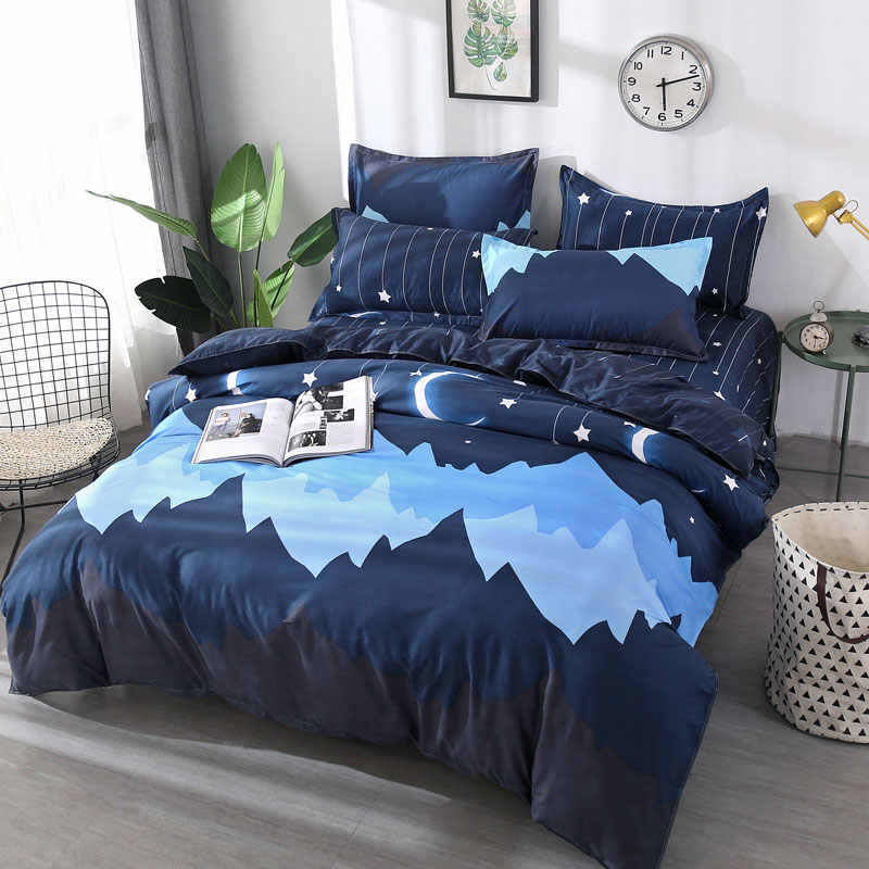 Moon Star 4pcs Kid Bed Cover Set Cartoon Duvet Cover Adult Child Bed Sheets And Pillowcases Comforter Bedding Set 2TJ-61003