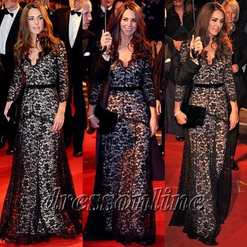 2012 Princess Kate Middletom in Temperley London Amoret Charming Black Lace Evening Gown Party Dress