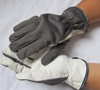 Pig Grain Leather Working Gloves Elastic Fabric Back