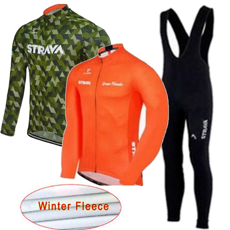 Cycling Jersey 2019 Strava Long Sleeve Winter Thermal Fleece Wear Bicycle MTB Bike Clothing Maillot Ropa Ciclismo Hombre 16D GEL