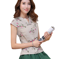 New Vintage Chinese Style Cotton Linen Short Sleeve Skirt Print Floral V Neck Blouse Sexy Petal