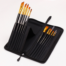 Bgln 12Pcs/Set Bristle & Nylon Hair Professional Oil Paint Brush With Canvas Bag Oil Painting Brush Stationery Art Supplies