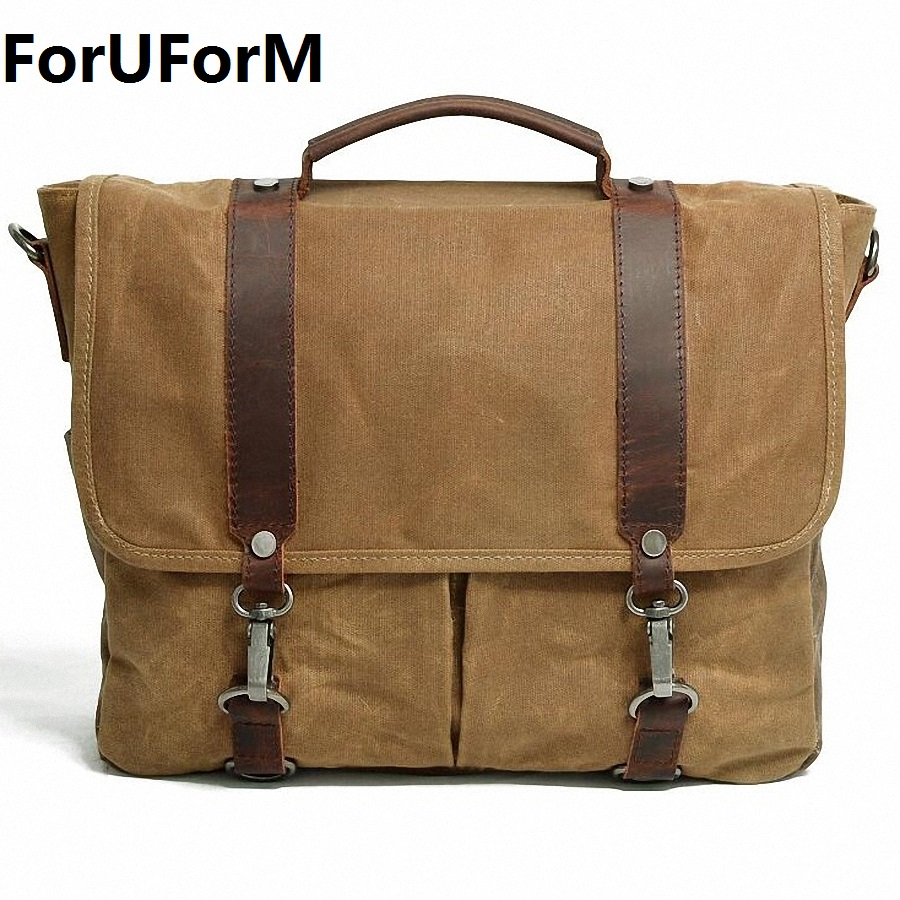 ForUForM Waterproof Canvas Casual Crossbody Bag Men Vintage School Messenger Bag Briefcase Shoulder Bag Travel Handbag LI-1939