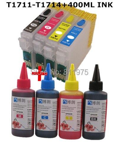 1711 refillable ink cartridge for epson XP-33 XP-103 XP-203 207 XP-303 XP-306 XP-403 XP-406 XP-313 XP-413 +4 Color Dye Ink 400ml full specialized dye ink ciss for eposn t1711 t1701 for epson xp 313 xp 413 xp 103 xp 203 xp 207 xp 303 xp 306 xp 403 xp 406