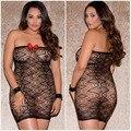 S-XXXL plus size mulheres sexy lingerie hot babydoll bow black lace boat neck Vestido bodystockings lingerie erótica trajes sexy 53