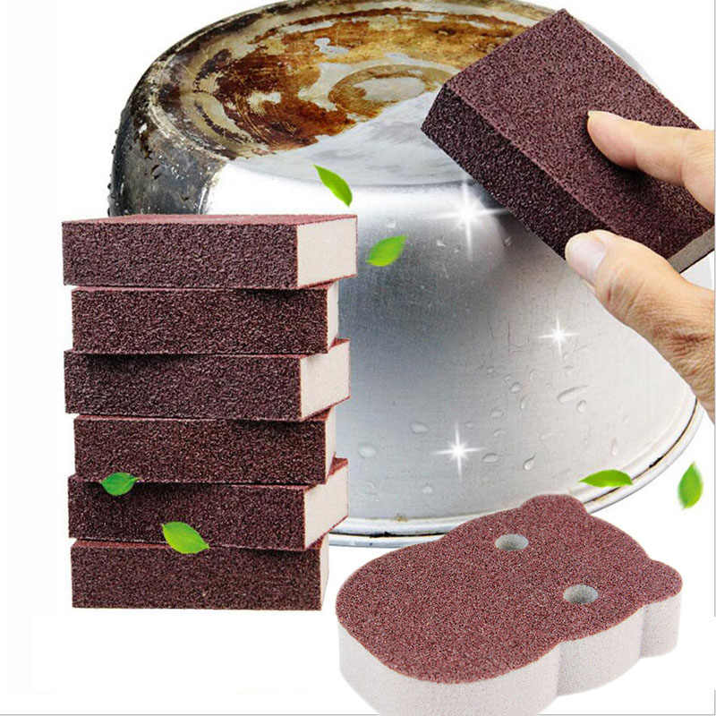 1Pc Magic Sponge Kitchen Cleaning Sponge Rust Remover Scouring Cloth Waist Type Sponge Kitchen Bathroom Cleaning Tool