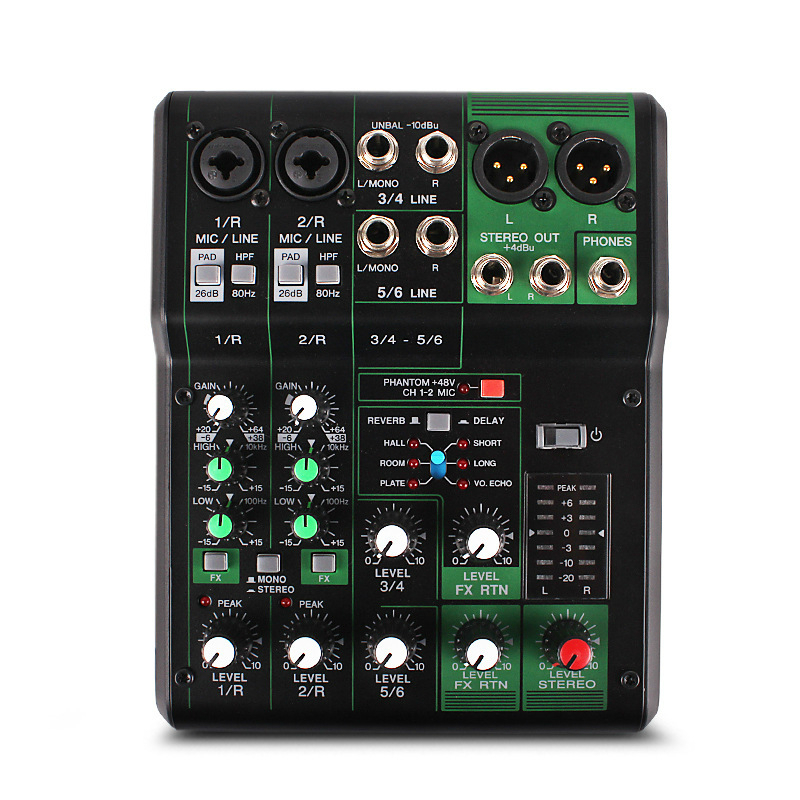 MG06X small home mini 6 professional band effects portable reverb sound card mixer Music audio Effects Processors udo zolzer dafx digital audio effects