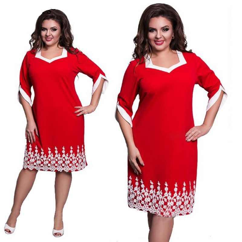 d7093838f1fcb8d Бренд для женщин Повседневное свободное платье кружево в стиле «пэчворк», больших  размеров модные
