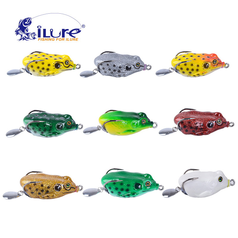 iLure high quality kopper live target frog lure 50mm / 14g snakehead lure topwater simulation frog fishing lure soft bass bait