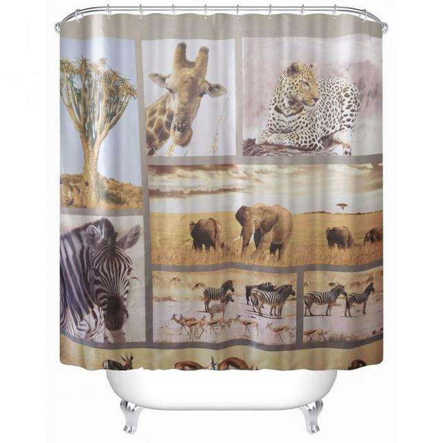 Animal World Family Stylish Bathroom Shower Curtain Ring Pull Easy To Install