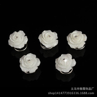 200 Pcs Bridal Wedding Prom White Rose Crystal Rhinestone Hair Pins Twister