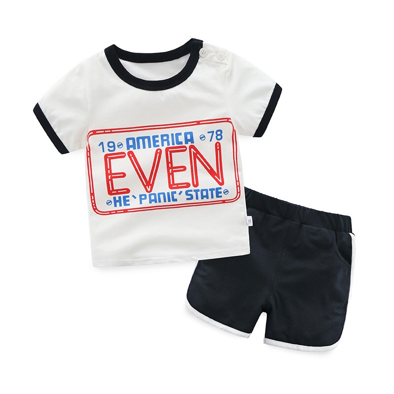 Scorching Sale Model Boys Clothes Youngsters Summer season Women Garments Letter Printed Children Boy Clothes Set T-Shirt+Pants Cotton