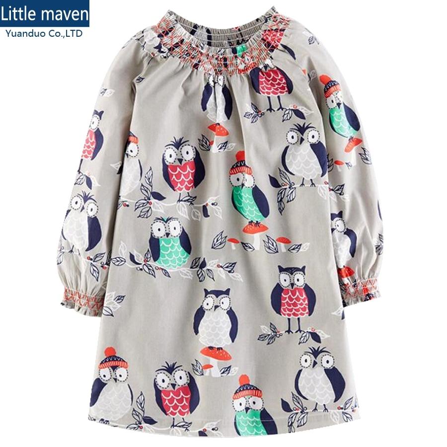 little girls dresses Cotton kids dress for girls dresses long sleeve gray cartoon owl style kids chothing vestido infantil