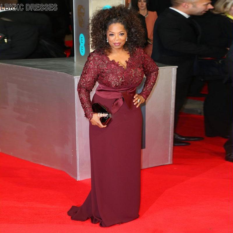 Celebrity Wedding Dresses 2019: Elegant Burgundy Celebrity Dress Women Plus Size Evening