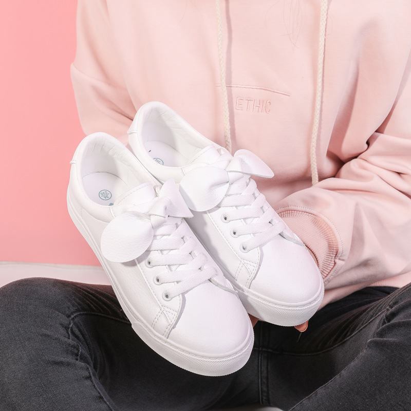 Women White Shoes with Bowknot Female Black Leather Shoes Girls Cute Sneakers with Bow Lace Up Flat Heel Waterproof Sweet Shoes glowing sneakers usb charging shoes lights up colorful led kids luminous sneakers glowing sneakers black led shoes for boys