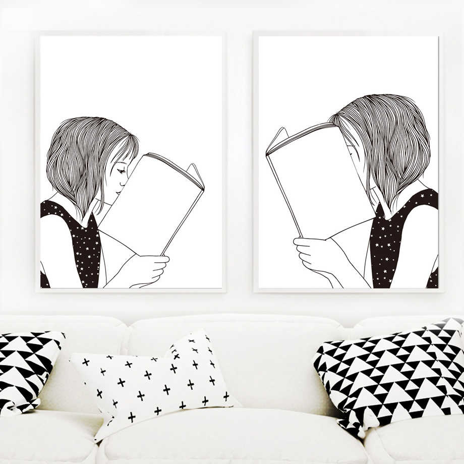 Fine Hand Painted Quiet Girl Book Black White Wall Art Canvas Painting Nordic Posters And Prints Wall Pictures For Living Room Decor Gmtry Best Dining Table And Chair Ideas Images Gmtryco
