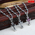 Rich 925 pure silver hot-selling silver  cross necklace vintage thai silver Women lengthen necklace